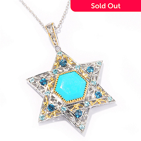 121-951 - Gems en Vogue 12mm Turquoise & Multi Gemstone Star of David Pendant w/ Chain