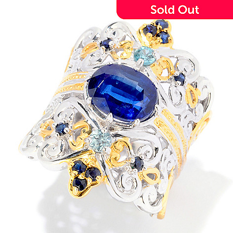 121-952 - Gems en Vogue 3.28ctw Kyanite & Multi Gemstone Ring