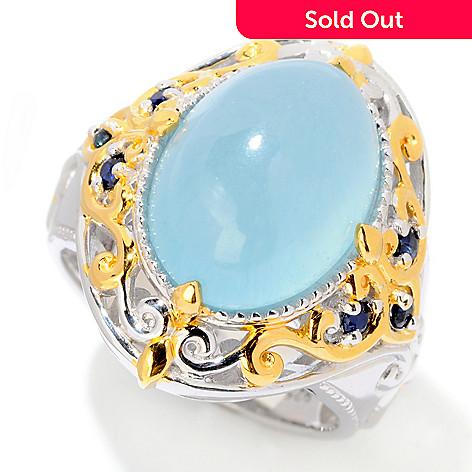 121-953 - Gems en Vogue 14 x 10mm Blue Aragonite & Sapphire Ring