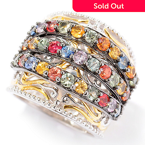 121-954 - Gems en Vogue 2.64ctw Three-Row Multi Sapphire Wide Cigar Band Ring