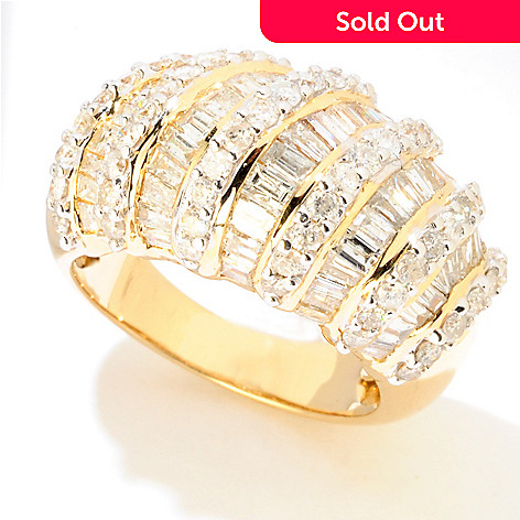 121-958 - Diamond Treasures® 14K Gold 3.07ctw Round & Baguette Diamond Multi-Row Ring