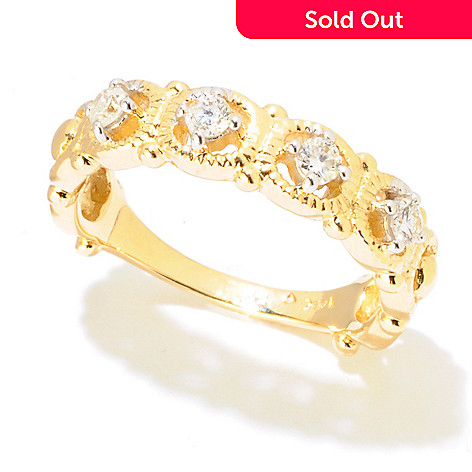121-978 - Diamond Treasures 14K Gold 0.20ctw Diamond Circle Band Ring
