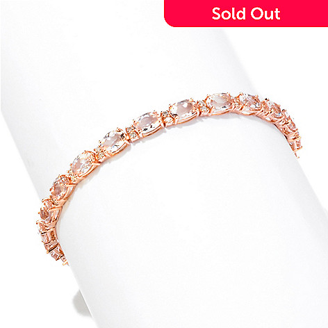 121-999 - Gem Treasures® 14K Rose Gold Morganite & Diamond Oval Cut Bracelet