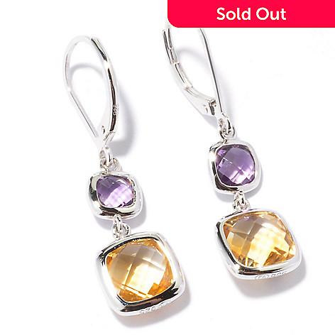 122-001 - Gem Insider™ Sterling Silver 5.20ctw Citrine & Amethyst Dangle Earrings