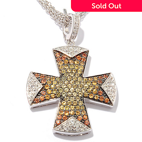 122-003 - Dallas Prince Sterling Silver 2.25ctw Multi Sapphire Cross Pendant w/ Chain