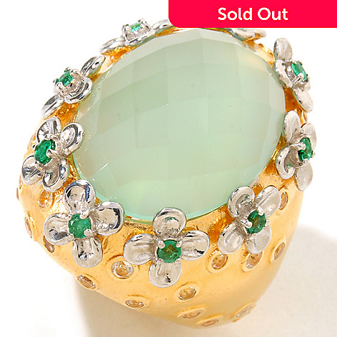 122-004 - Dallas Prince Designs 19 x 15mm Aqua Chalcedony, White Topaz & Emerald Ring