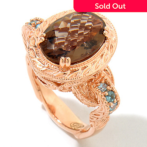122-015 - Dallas Prince Designs 5.36ctw Smoky Quartz & Blue Zircon Ring