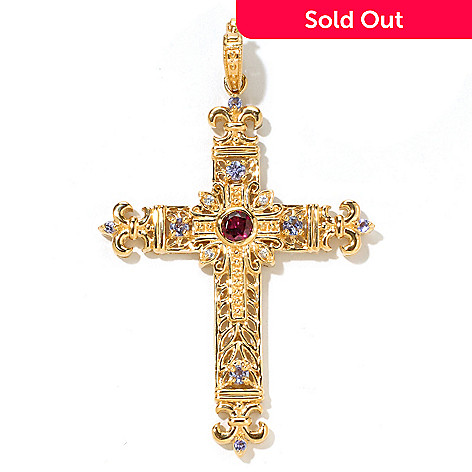 122-017 - Dallas Prince 1.42ctw Rhodolite, Tanzanite & White Sapphire Cross Enhancer Pendant
