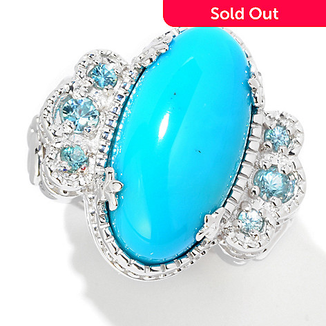 122-020 - Dallas Prince Sterling Silver 20 x 10mm Turquoise & Blue Zircon Ring