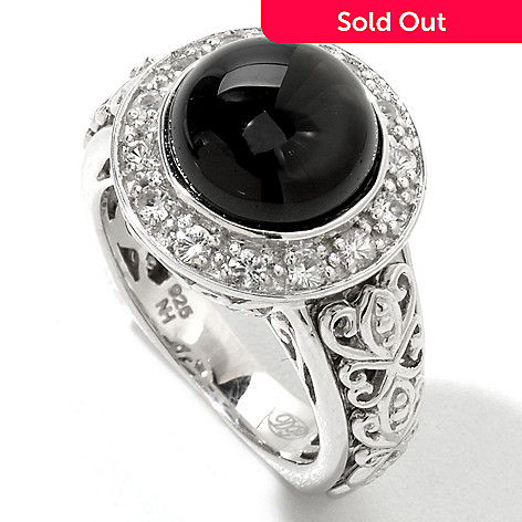 122-021 - Dallas Prince Sterling Silver 4.66ctw Black Tourmaline & Sapphire Ring