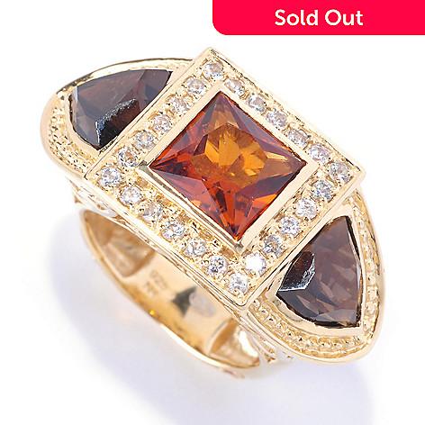 122-035 - Dallas Prince 8mm Square & Trillion Multi Gemstone Three-Stone Ring