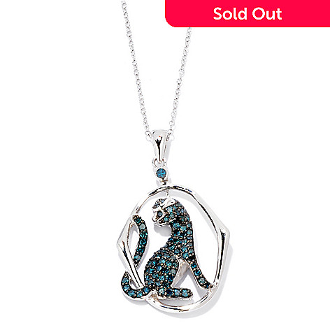 122-043 - Diamond Treasures Sterling Silver 1.00ctw Blue Diamond Panther Pendant w/ Chain