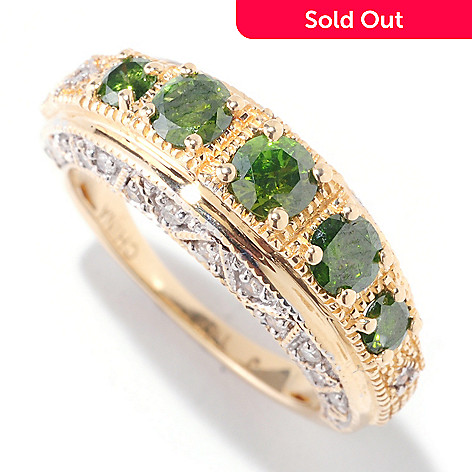 122-044 - Diamond Treasures 14K Yellow Gold 0.89ctw Green & White Diamond Five-Stone Ring
