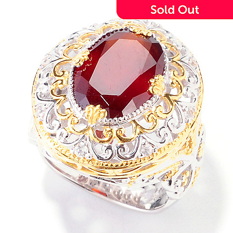 122-045 - Gems en Vogue II 6.40ctw Hessonite Garnet & White Sapphire Ring