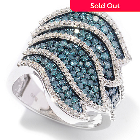 122-051 - Diamond Treasures Sterling Silver 1.23ctw Blue & White Diamond Wing Design Ring