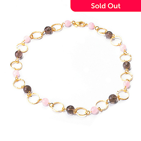 122-060 - Toscana Italiana Gold Embraced™ 24'' Faceted Gem & Martellato Link Station Necklace