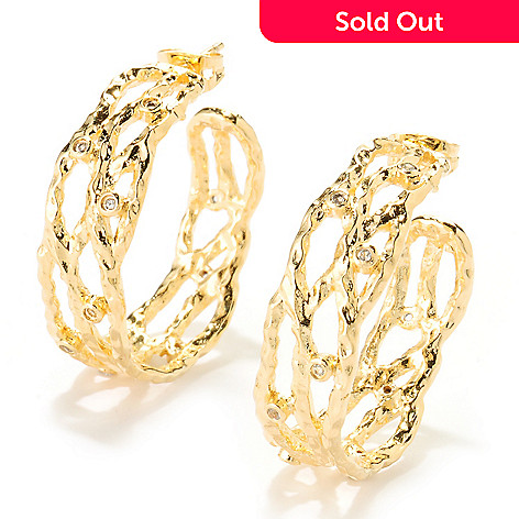 122-063 - Toscana Italiana Gold Embraced™ 1.25'' White Topaz Hammered Hoop Earrings