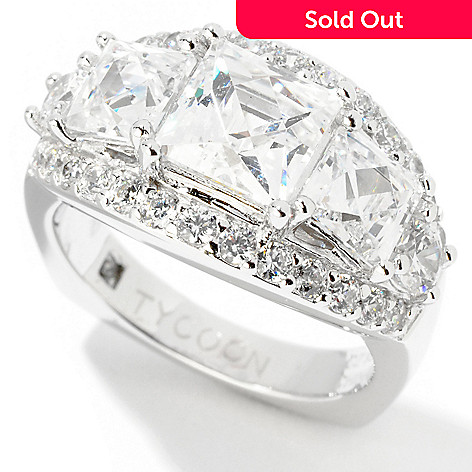 122-065 - TYCOON for Brilliante® Platinum Embraced™ 3.89 DEW Square Graduated Ring