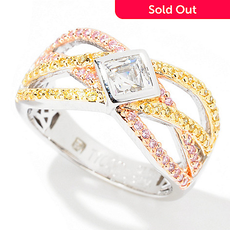 122-066 - TYCOON Tri-Color Pave & Bezel Set Simulated Diamond Overlapping Ring