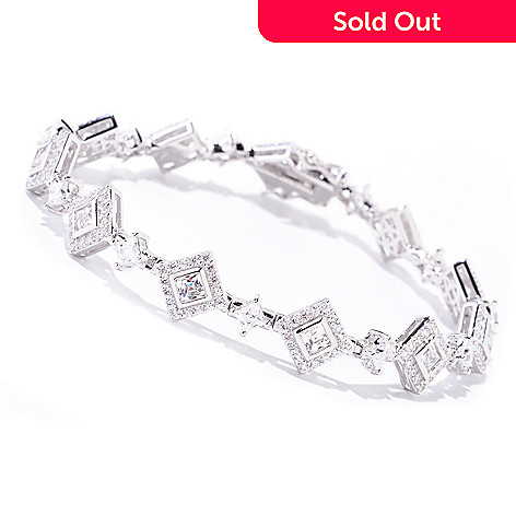 122-075 - TYCOON Platinum Embraced™ Square Design Simulated Diamond Halo Bracelet