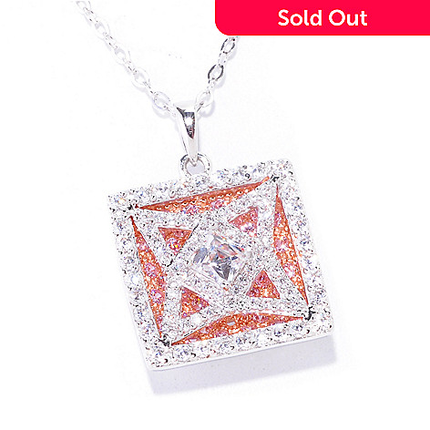 "122-077 -  TYCOON for Brilliante® Two-Tone 2.05 DEW Square Cut Pendant w/ 18"" Chain"