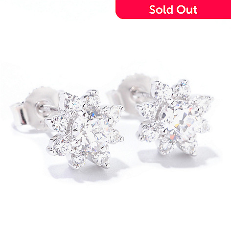 122-083 - TYCOON 1.16 DEW Simulated Diamond Cluster Flower Stud Earrings