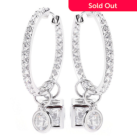 122-084 - TYCOON for Brilliante® Platinum Embraced™ 8.14 DEW Hoop Earrings w/ Removable Charms
