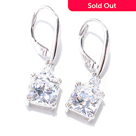122-090 - Brilliante® Platinum Embraced™ 5.76 DEW Square & Trillion Drop Earrings