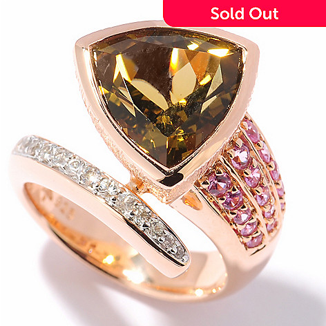 122-102 - Michelle Albala 4.49ctw Trillion Olive Quartz & Multi Sapphire Bypass Ring