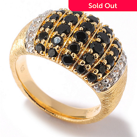 122-104 - Michelle Albala 1.70ctw Black Spinel & White Sapphire Wide Band Ring