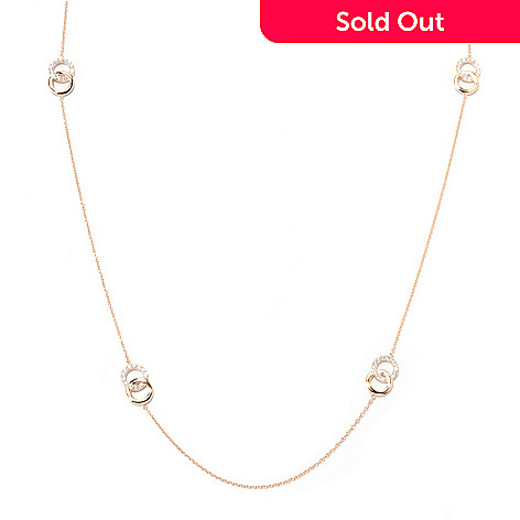 122-115 - Sonia Bitton 36'' 2.88 DEW Simulated Diamond Interlocked Circle Station Necklace