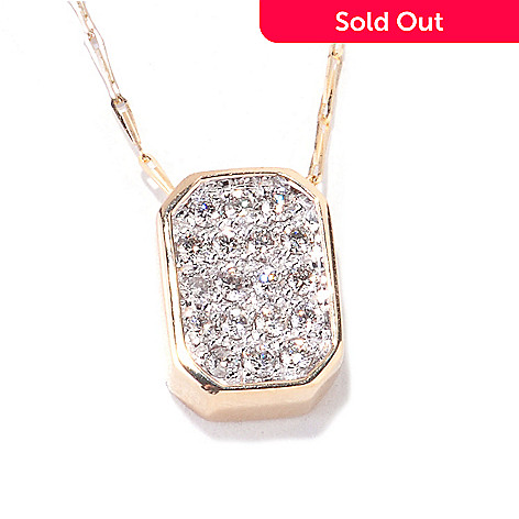 122-120 - Beverly Hills Elegance 14K Gold 0.35ctw Diamond Octagon Pendant w/ 18'' Chain