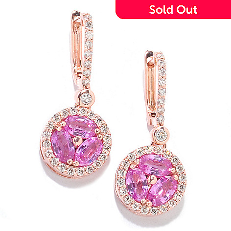 122-125 - Beverly Hills Elegance 14K Rose Gold 1.96ctw Diamond & Pink Sapphire Earrings