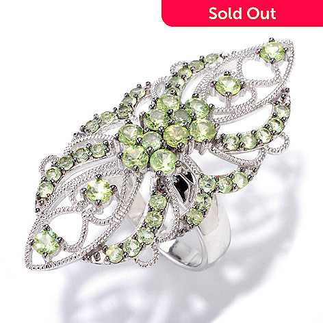 122-128 - Gem Insider Sterling Silver 2.76ctw Peridot Elongated Ring