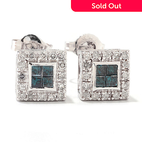 122-136 - Diamond Treasures 14K Gold 0.50ctw Colored & White Diamond Stud Earrings