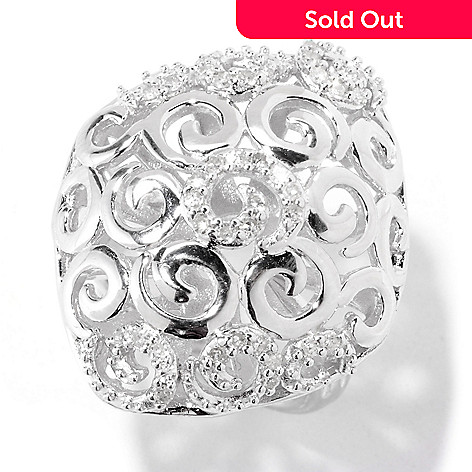 122-138 - Diamond Treasures® Sterling Silver 0.25ctw Diamond Swirl Design Ring