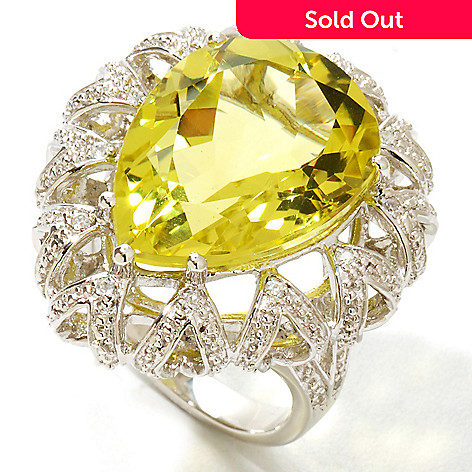 122-145 - NYC II 12.52ctw Pear Shaped Lemon Quartz & White Zircon Ring