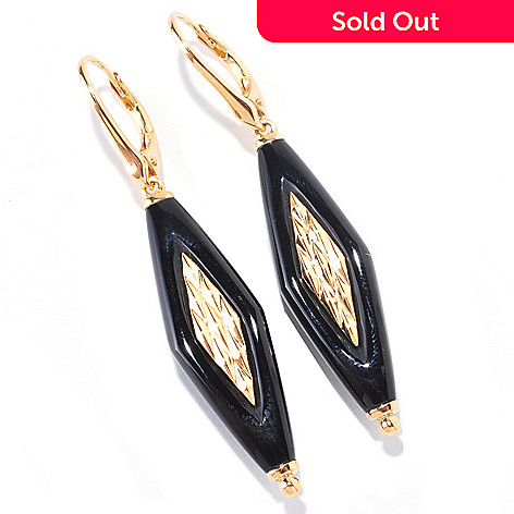 122-152 - Omar Torres Fancy Cut 30 x 10mm Onyx Drop Earrings