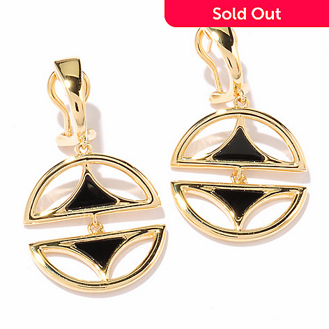 122-155 - Omar Torres Fancy Cut Onyx ''Half & Half'' Drop Earrings w/ Omega Backs