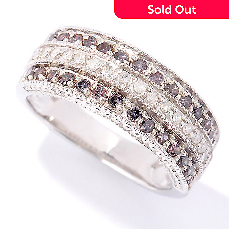 122-168 - Diamond Treasures Sterling Silver 0.50ctw Purple & White Diamond Band Ring