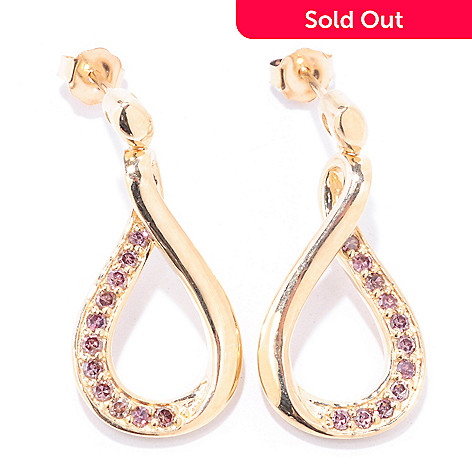 122-175 - Diamond Treasures 14K Gold 0.33ctw Purple Diamond Teardrop Earrings