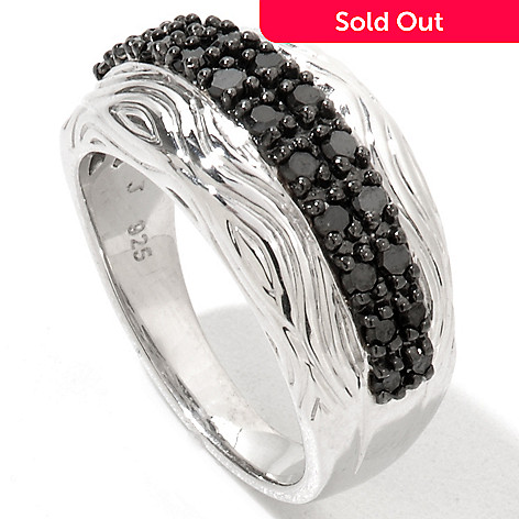 122-180 - Diamond Treasures Sterling Silver 0.50ctw Black Diamond Two-Row Textured Ring