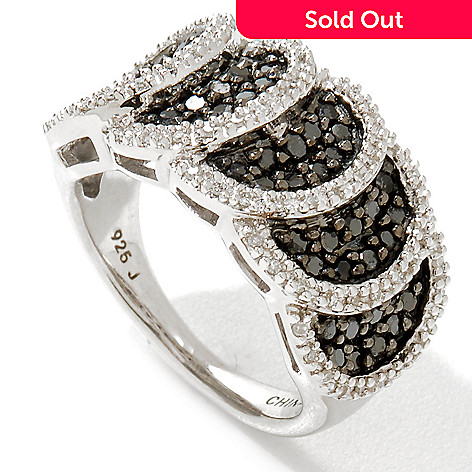 122-181 - Diamond Treasures Sterling Silver 0.75ctw Black & White Diamond Circle Ring