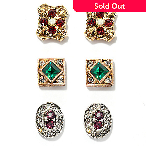 122-203 - Sweet Romance™ Set of Three Renaissance Inspired Stud Earrings