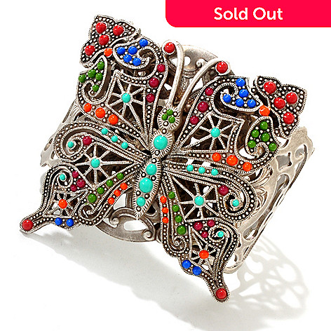 122-209 - Sweet Romance™ Silver-tone 7'' Multi Color Enamel Butterfly Cuff Bracelet