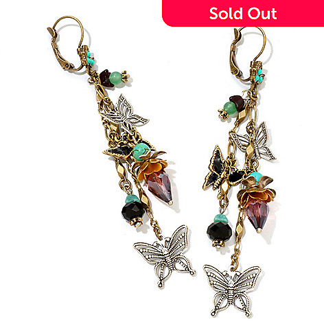 122-210 - Sweet Romance™ Gold-tone Butterfly Dangle Earrings