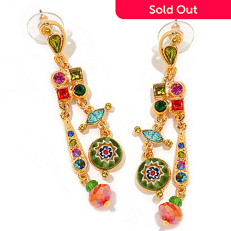 122-230 - Sweet Romance 2.5'' Multi Color Candy Glass Dangle Earrings