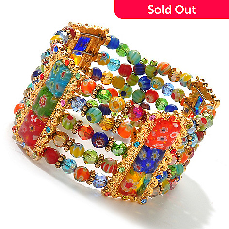 122-231 - Sweet Romance Gold-tone 7'' Multi Color Glass Candy Bead Cuff Bracelet