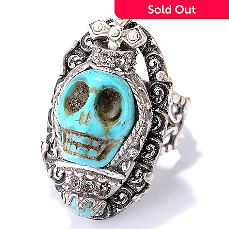 122-237 - Sweet Romance™ Gold-tone Reliquary Inspired Skull Ring