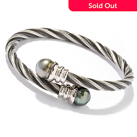 122-246 - Stainless Steel 7.25'' 10-11mm Tahitian Cultured Pearl Wrap Bracelet